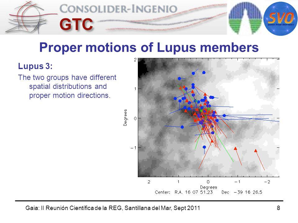 Gaia: II Reunión Científica de la REG, Santillana del Mar, Sept 20119 Proper motions of Lupus members Lupus 4: The two groups have different proper motion directions.