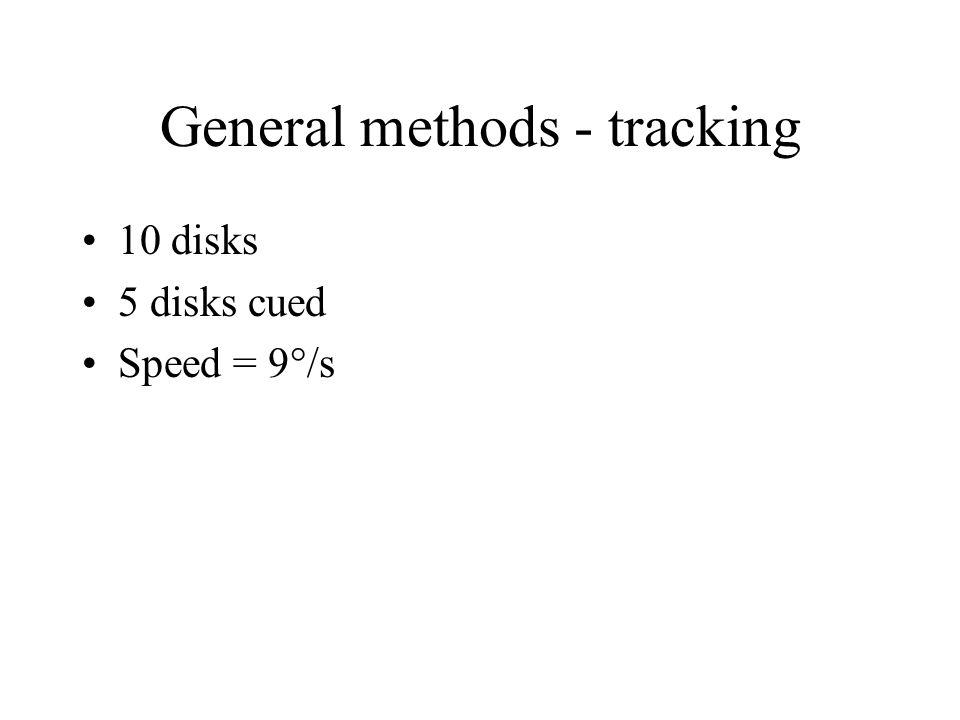 General methods - tracking 10 disks 5 disks cued Speed = 9°/s