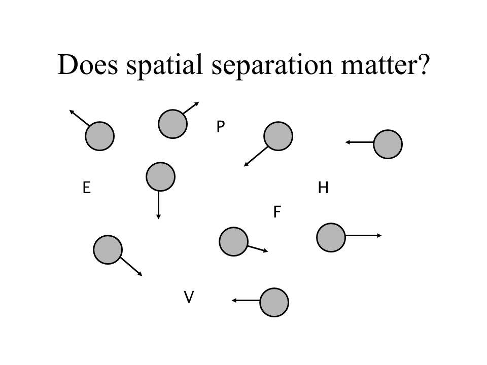 Does spatial separation matter? E F V H P