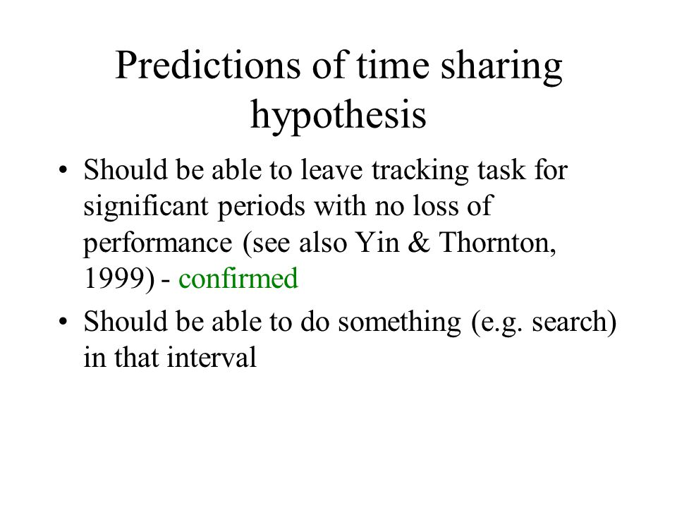 Predictions of time sharing hypothesis Should be able to leave tracking task for significant periods with no loss of performance (see also Yin & Thorn