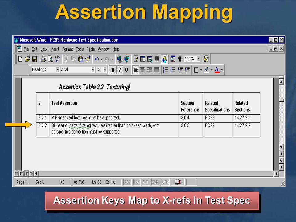 Assertion Mapping Assertion Keys Map to X-refs in Test Spec