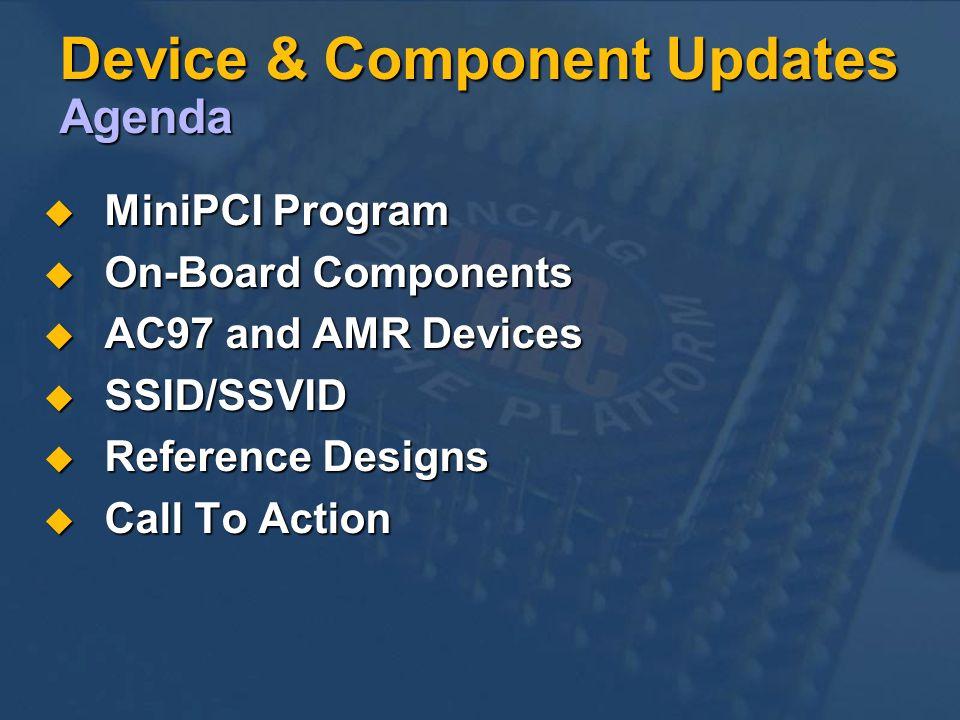 Device & Component Updates Agenda MiniPCI Program MiniPCI Program On-Board Components On-Board Components AC97 and AMR Devices AC97 and AMR Devices SSID/SSVID SSID/SSVID Reference Designs Reference Designs Call To Action Call To Action