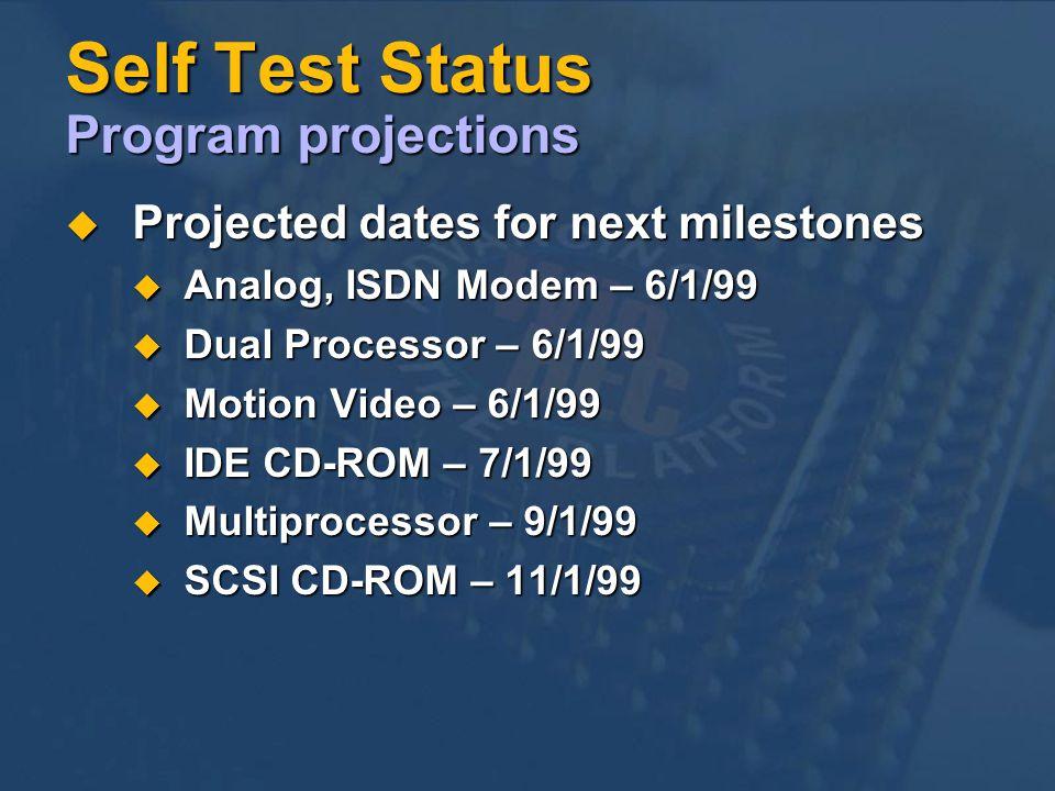 Self Test Status Program projections Projected dates for next milestones Projected dates for next milestones Analog, ISDN Modem – 6/1/99 Analog, ISDN Modem – 6/1/99 Dual Processor – 6/1/99 Dual Processor – 6/1/99 Motion Video – 6/1/99 Motion Video – 6/1/99 IDE CD-ROM – 7/1/99 IDE CD-ROM – 7/1/99 Multiprocessor – 9/1/99 Multiprocessor – 9/1/99 SCSI CD-ROM – 11/1/99 SCSI CD-ROM – 11/1/99