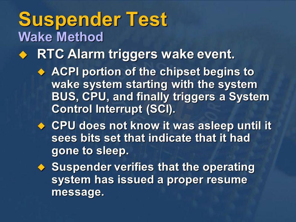 Suspender Test Wake Method RTC Alarm triggers wake event.