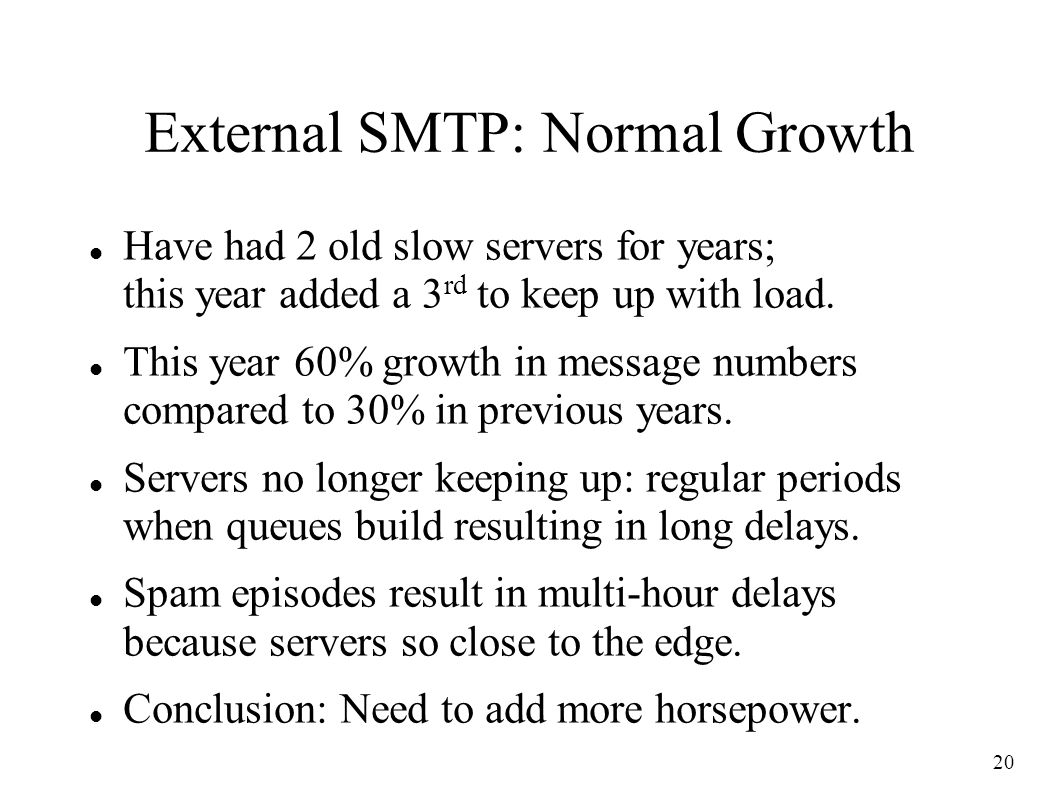 20 External SMTP: Normal Growth Have had 2 old slow servers for years; this year added a 3 rd to keep up with load.