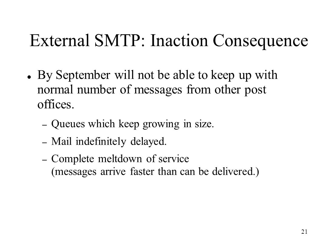 21 External SMTP: Inaction Consequence By September will not be able to keep up with normal number of messages from other post offices.