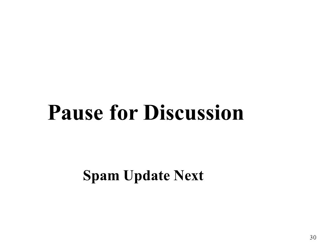 30 Pause for Discussion Spam Update Next