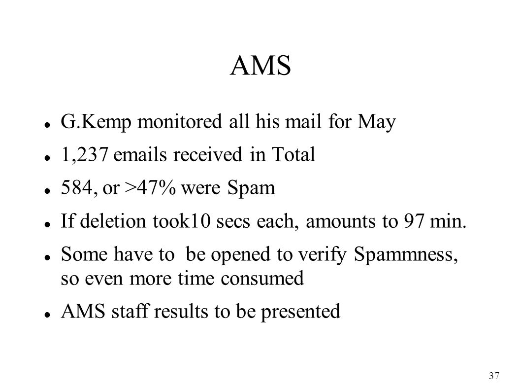 37 AMS G.Kemp monitored all his mail for May 1,237 emails received in Total 584, or >47% were Spam If deletion took10 secs each, amounts to 97 min.