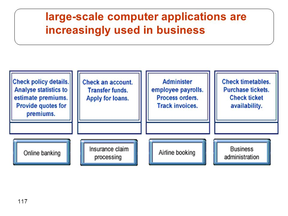 117 large-scale computer applications are increasingly used in business