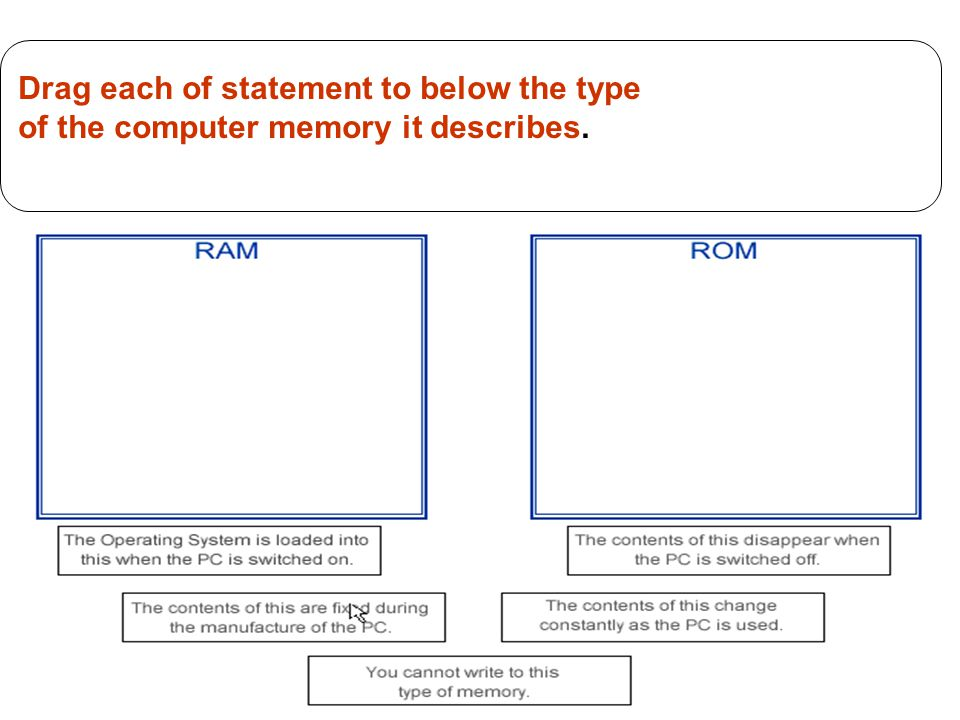 13 Drag each of statement to below the type of the computer memory it describes.