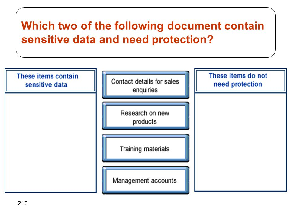 215 Which two of the following document contain sensitive data and need protection?