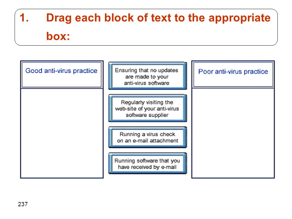 237 1.Drag each block of text to the appropriate box: