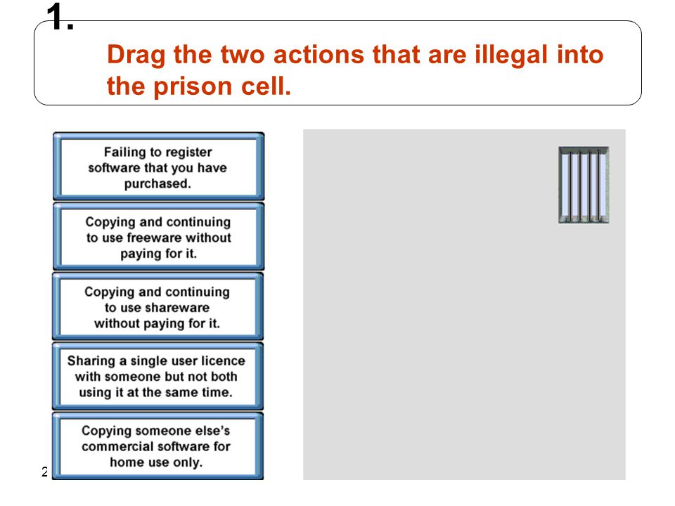 247 1. Drag the two actions that are illegal into the prison cell.