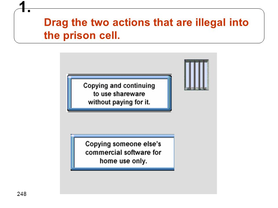 248 1. Drag the two actions that are illegal into the prison cell.