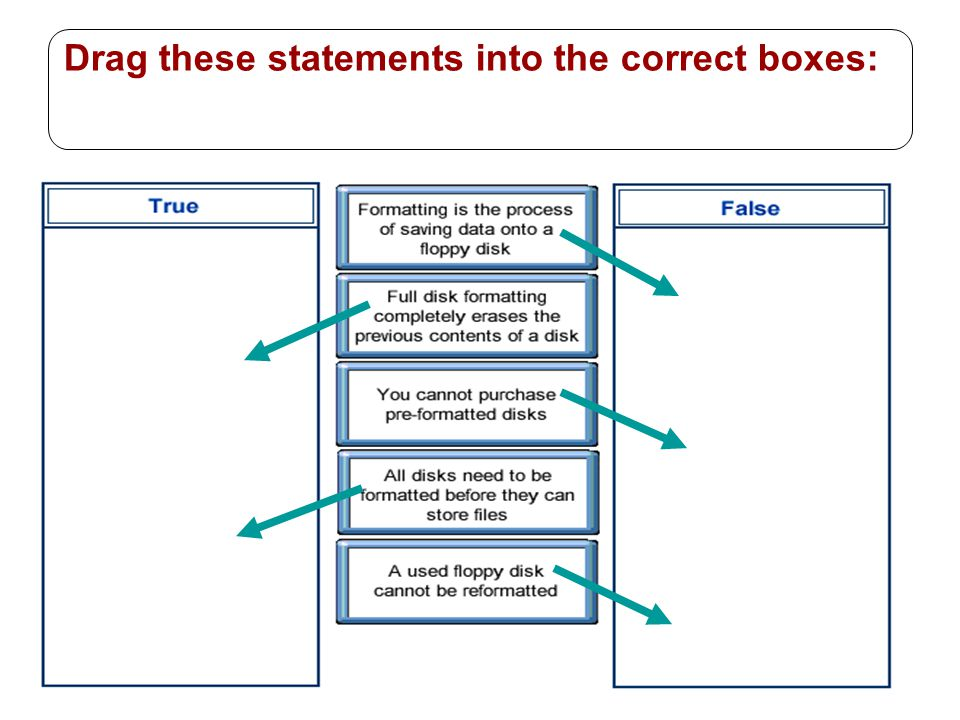 30 Drag these statements into the correct boxes: