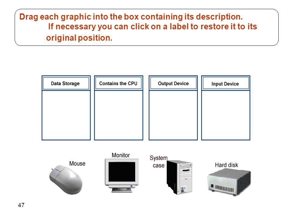 47 Drag each graphic into the box containing its description. If necessary you can click on a label to restore it to its original position.