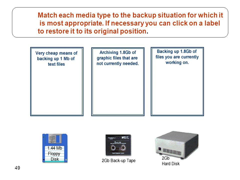 49 Match each media type to the backup situation for which it is most appropriate. If necessary you can click on a label to restore it to its original