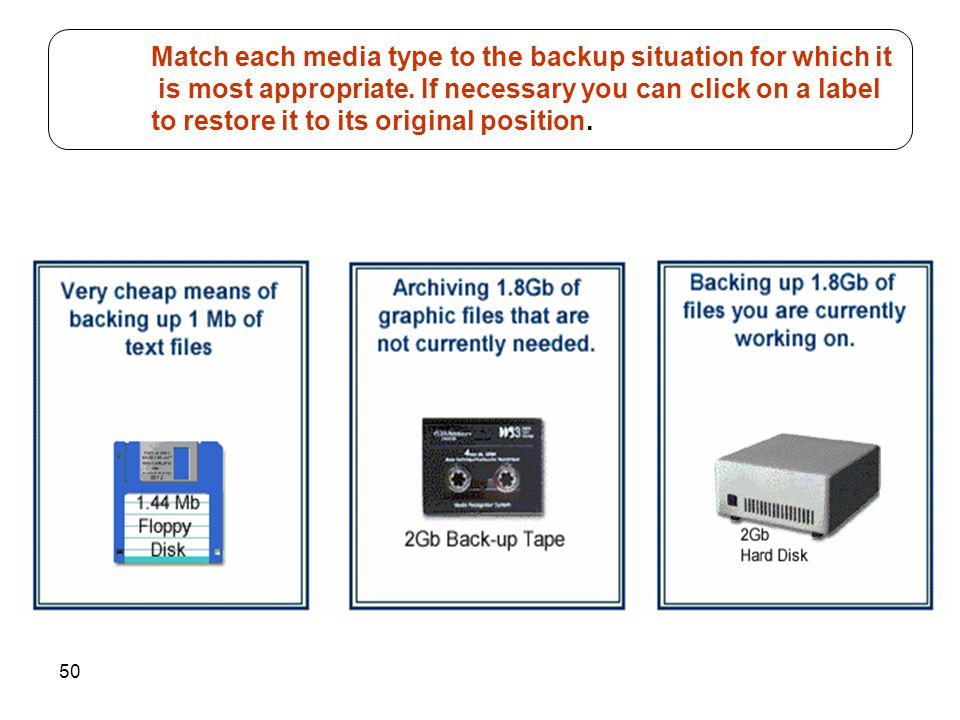 50 Match each media type to the backup situation for which it is most appropriate. If necessary you can click on a label to restore it to its original