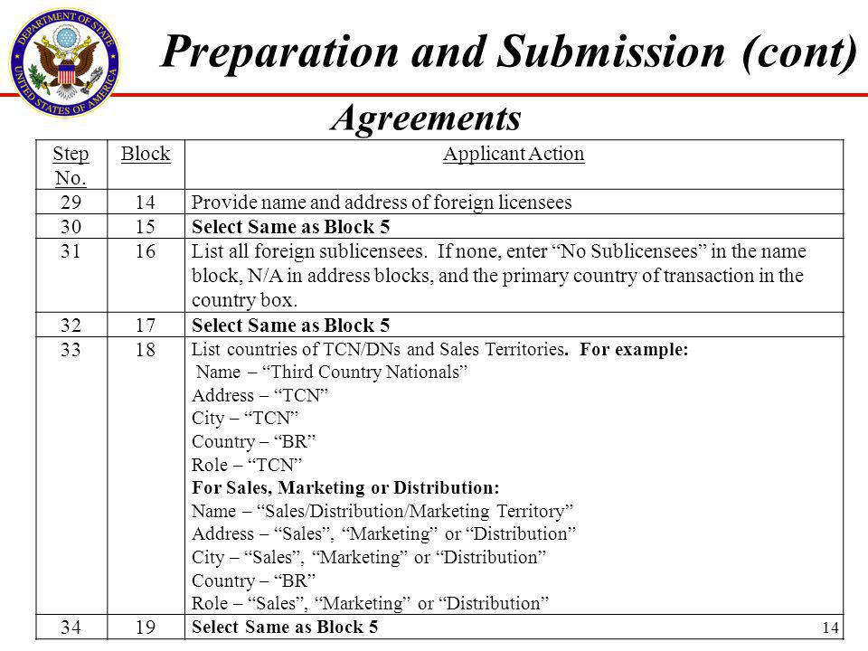 Step No.BlockApplicant Action 3520 Check items as applicable.