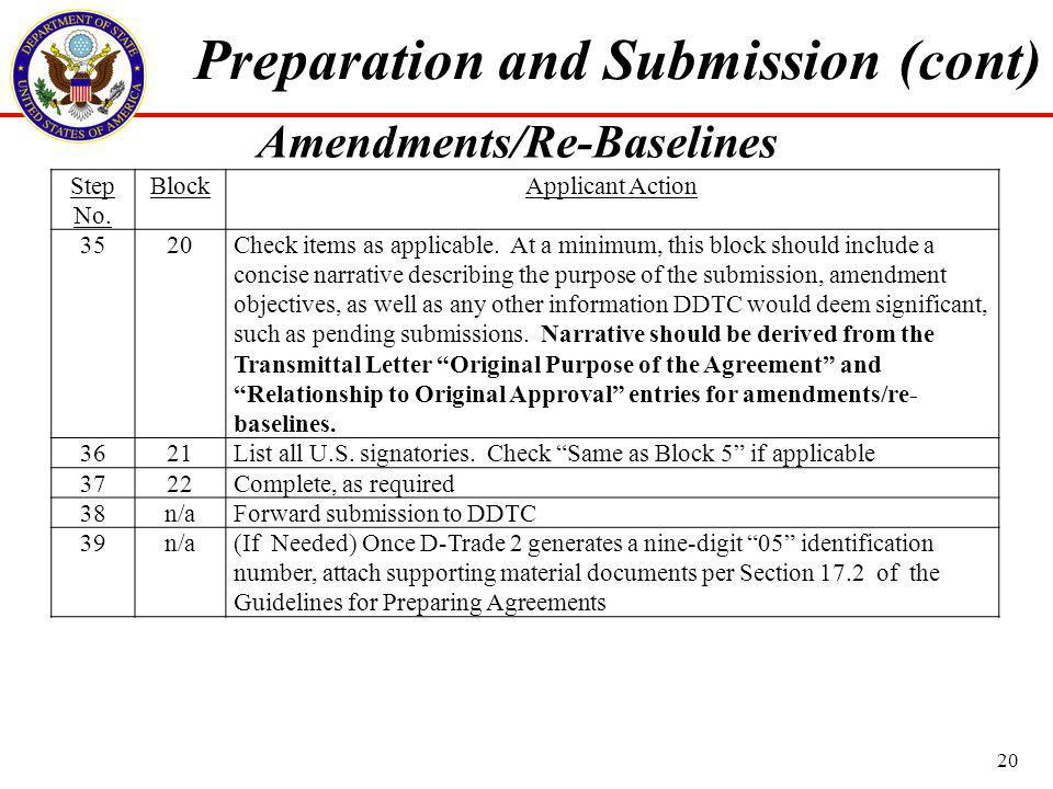 Step No. BlockApplicant Action 3520Check items as applicable.