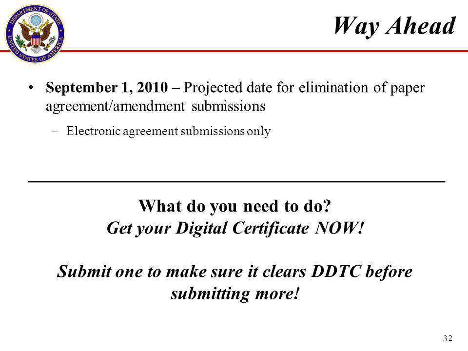 Way Ahead September 1, 2010 – Projected date for elimination of paper agreement/amendment submissions –Electronic agreement submissions only What do you need to do.