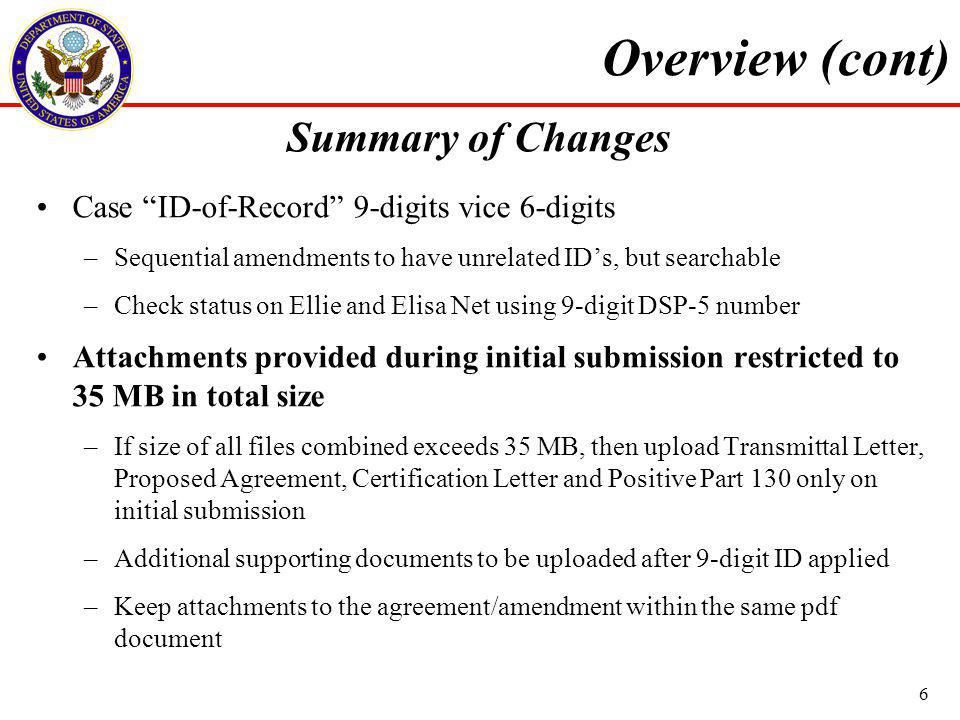 Summary of Changes Case ID-of-Record 9-digits vice 6-digits –Sequential amendments to have unrelated IDs, but searchable –Check status on Ellie and Elisa Net using 9-digit DSP-5 number Attachments provided during initial submission restricted to 35 MB in total size –If size of all files combined exceeds 35 MB, then upload Transmittal Letter, Proposed Agreement, Certification Letter and Positive Part 130 only on initial submission –Additional supporting documents to be uploaded after 9-digit ID applied –Keep attachments to the agreement/amendment within the same pdf document Overview (cont) 6