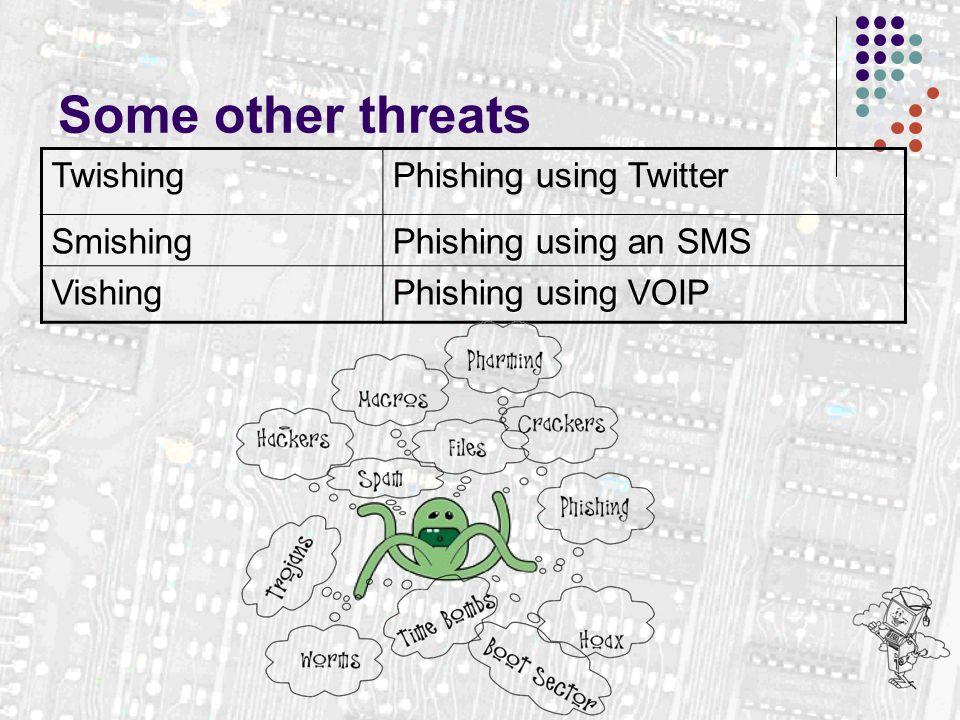 Some other threats TwishingPhishing using Twitter SmishingPhishing using an SMS VishingPhishing using VOIP