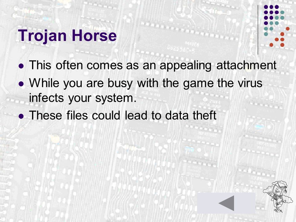 Trojan Horse This often comes as an appealing attachment While you are busy with the game the virus infects your system. These files could lead to dat