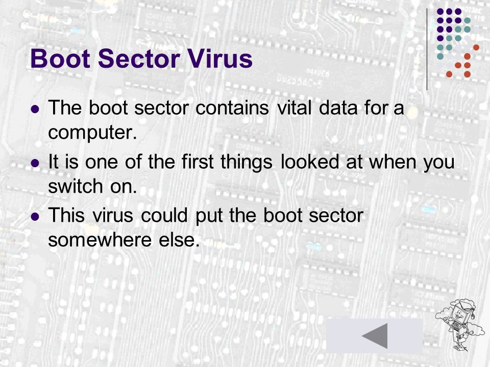 Boot Sector Virus The boot sector contains vital data for a computer. It is one of the first things looked at when you switch on. This virus could put