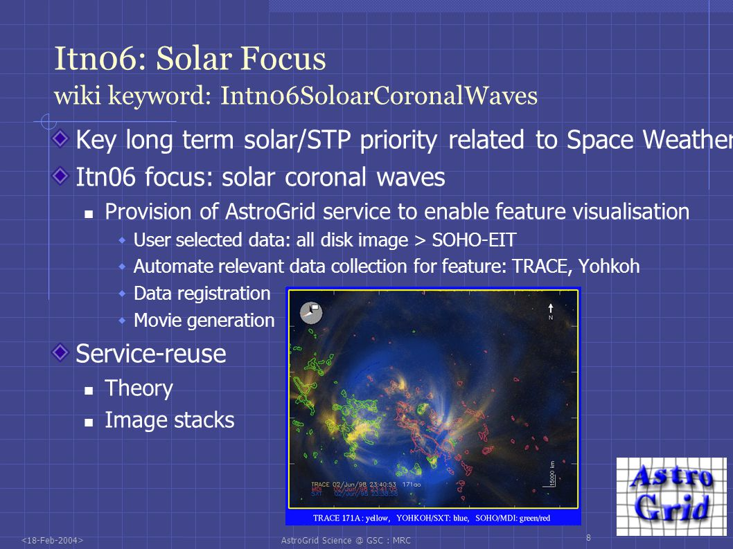 AstroGrid Science @ GSC : MRC 8 Itn06: Solar Focus wiki keyword: Intn06SoloarCoronalWaves Key long term solar/STP priority related to Space Weather Itn06 focus: solar coronal waves Provision of AstroGrid service to enable feature visualisation User selected data: all disk image > SOHO-EIT Automate relevant data collection for feature: TRACE, Yohkoh Data registration Movie generation Service-reuse Theory Image stacks
