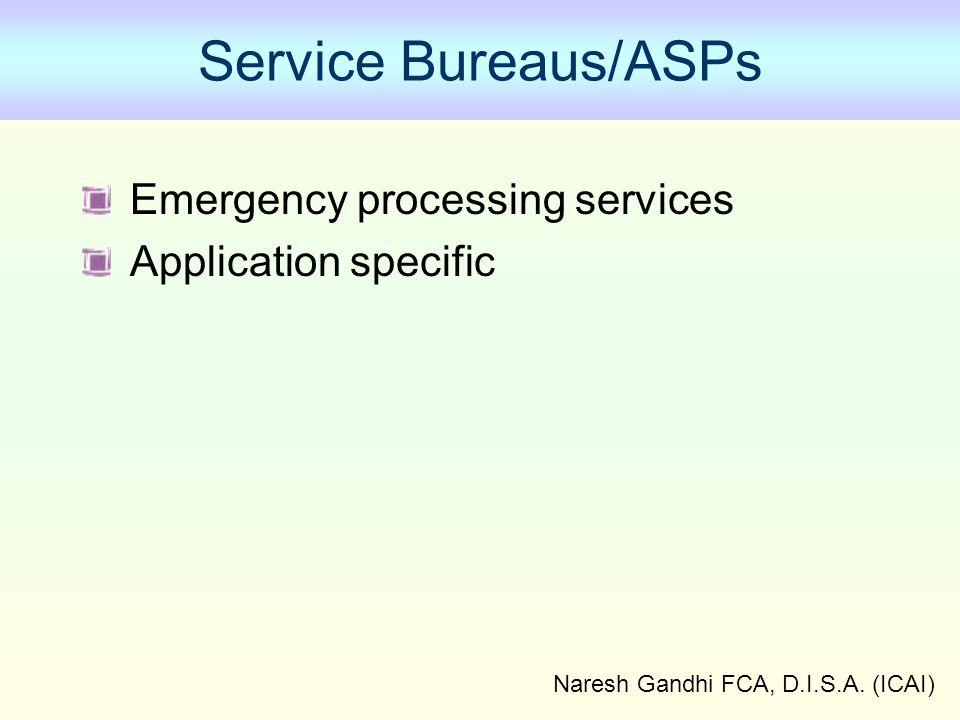 Naresh Gandhi FCA, D.I.S.A. (ICAI) Service Bureaus/ASPs Emergency processing services Application specific