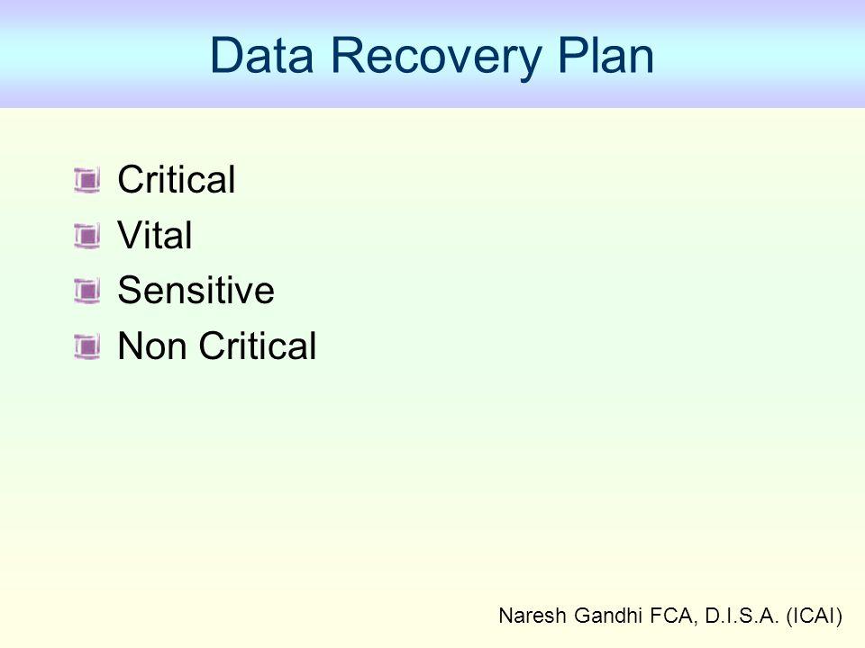 Naresh Gandhi FCA, D.I.S.A. (ICAI) Data Recovery Plan Critical Vital Sensitive Non Critical