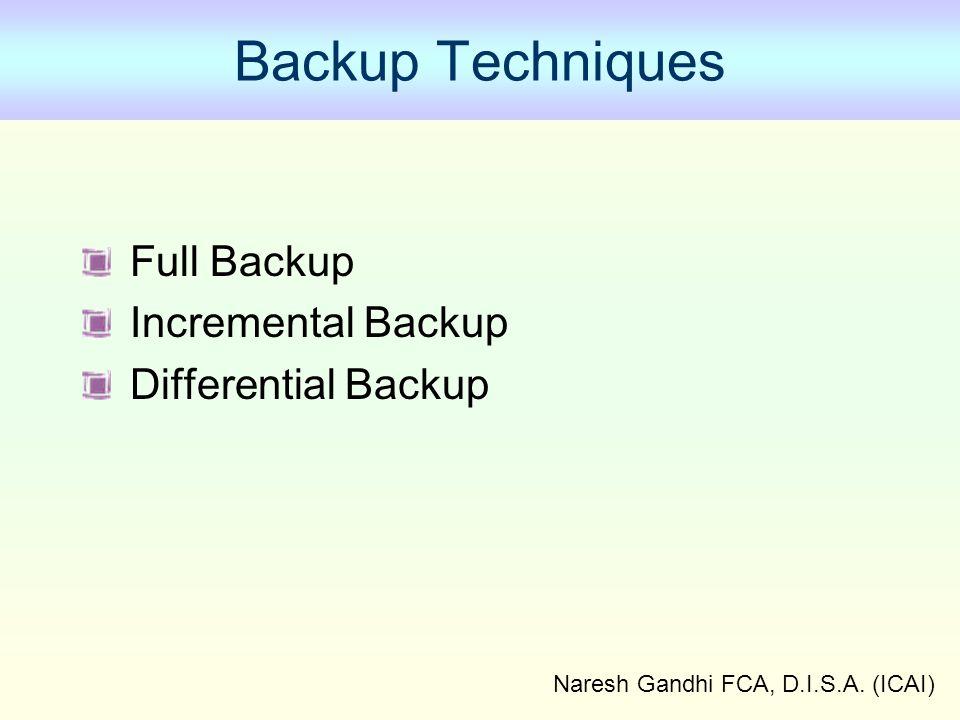 Naresh Gandhi FCA, D.I.S.A. (ICAI) Backup Techniques Full Backup Incremental Backup Differential Backup