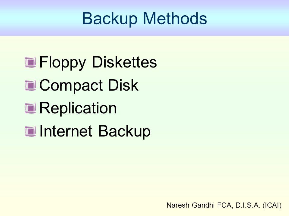 Naresh Gandhi FCA, D.I.S.A. (ICAI) Backup Methods Floppy Diskettes Compact Disk Replication Internet Backup