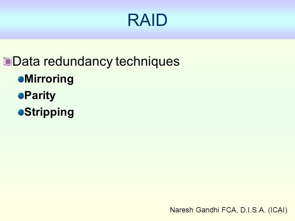Naresh Gandhi FCA, D.I.S.A. (ICAI) Data redundancy techniques Mirroring Parity Stripping RAID