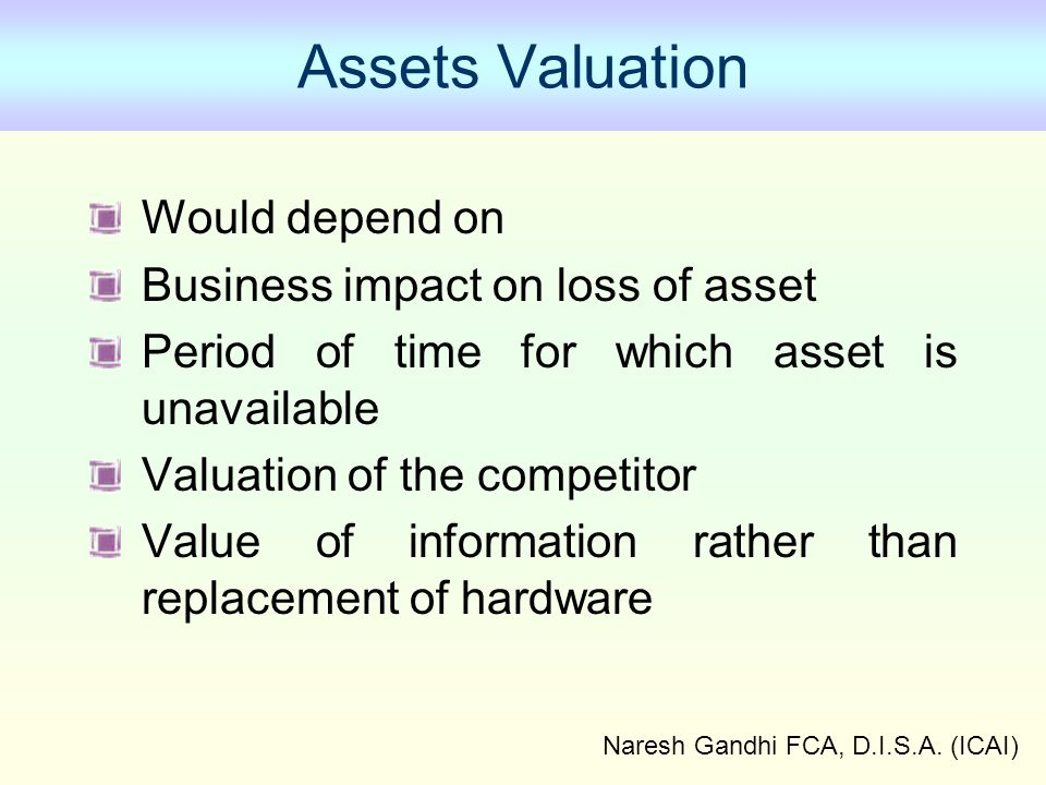 Naresh Gandhi FCA, D.I.S.A. (ICAI) Assets Valuation Would depend on Business impact on loss of asset Period of time for which asset is unavailable Val