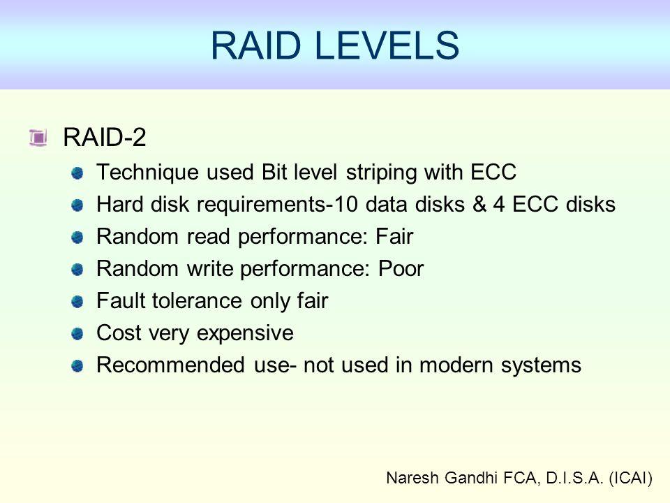 Naresh Gandhi FCA, D.I.S.A. (ICAI) Functions of EDI RAID-2 Technique used Bit level striping with ECC Hard disk requirements-10 data disks & 4 ECC dis