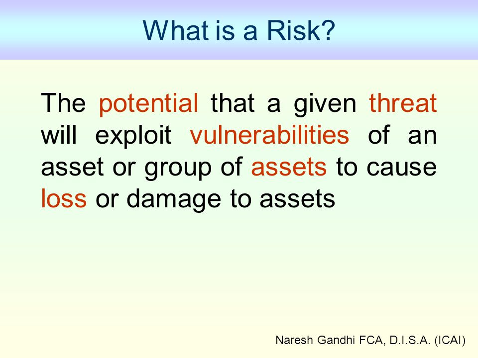 Naresh Gandhi FCA, D.I.S.A.(ICAI) What is a Risk.