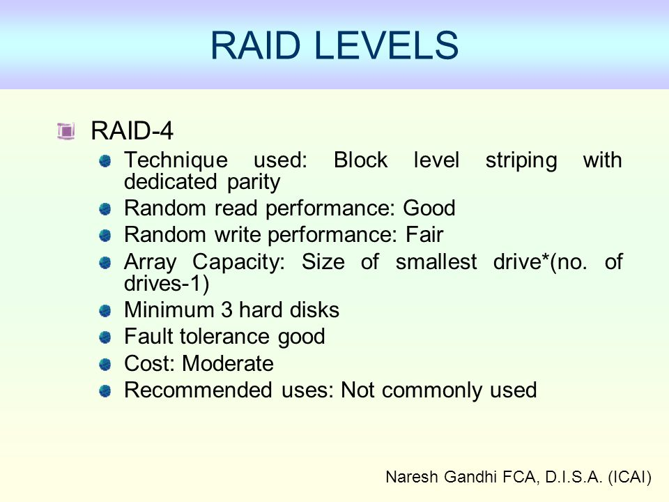 Naresh Gandhi FCA, D.I.S.A. (ICAI) RAID-4 Technique used: Block level striping with dedicated parity Random read performance: Good Random write perfor