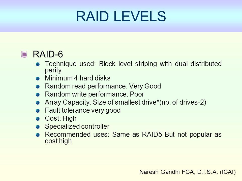 Naresh Gandhi FCA, D.I.S.A. (ICAI) RAID LEVELS RAID-6 Technique used: Block level striping with dual distributed parity Minimum 4 hard disks Random re