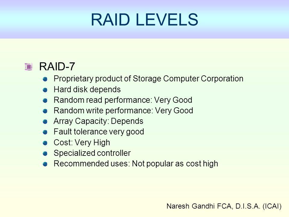 Naresh Gandhi FCA, D.I.S.A. (ICAI) RAID LEVELS RAID-7 Proprietary product of Storage Computer Corporation Hard disk depends Random read performance: V