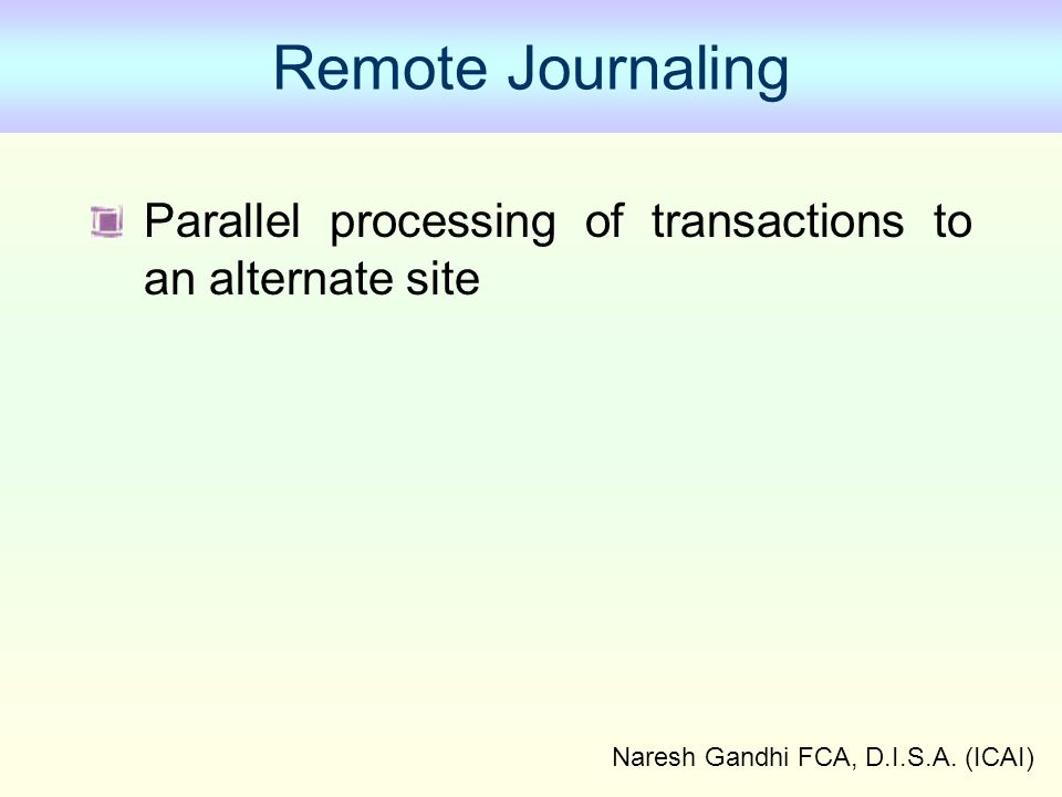 Naresh Gandhi FCA, D.I.S.A. (ICAI) Remote Journaling Parallel processing of transactions to an alternate site