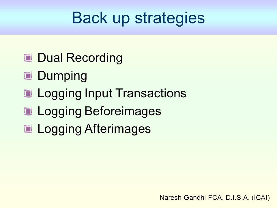 Naresh Gandhi FCA, D.I.S.A. (ICAI) Back up strategies Dual Recording Dumping Logging Input Transactions Logging Beforeimages Logging Afterimages