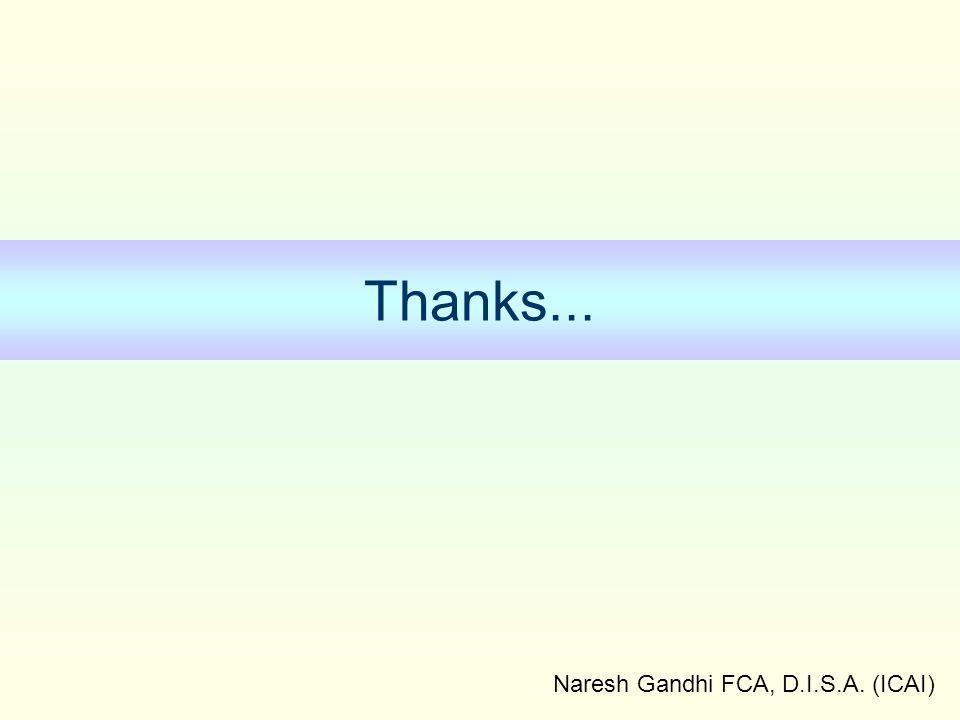 Naresh Gandhi FCA, D.I.S.A. (ICAI) Thanks...