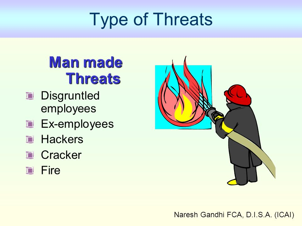 Naresh Gandhi FCA, D.I.S.A. (ICAI) Type of Threats Man made Threats Disgruntled employees Ex-employees Hackers Cracker Fire