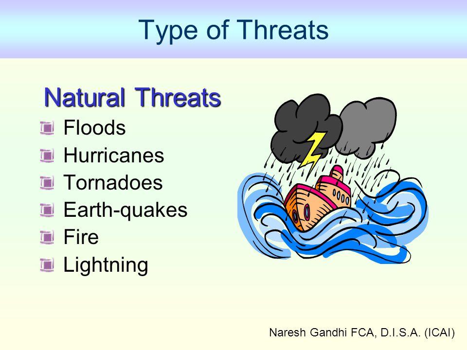 Naresh Gandhi FCA, D.I.S.A. (ICAI) Type of Threats Natural Threats Floods Hurricanes Tornadoes Earth-quakes Fire Lightning