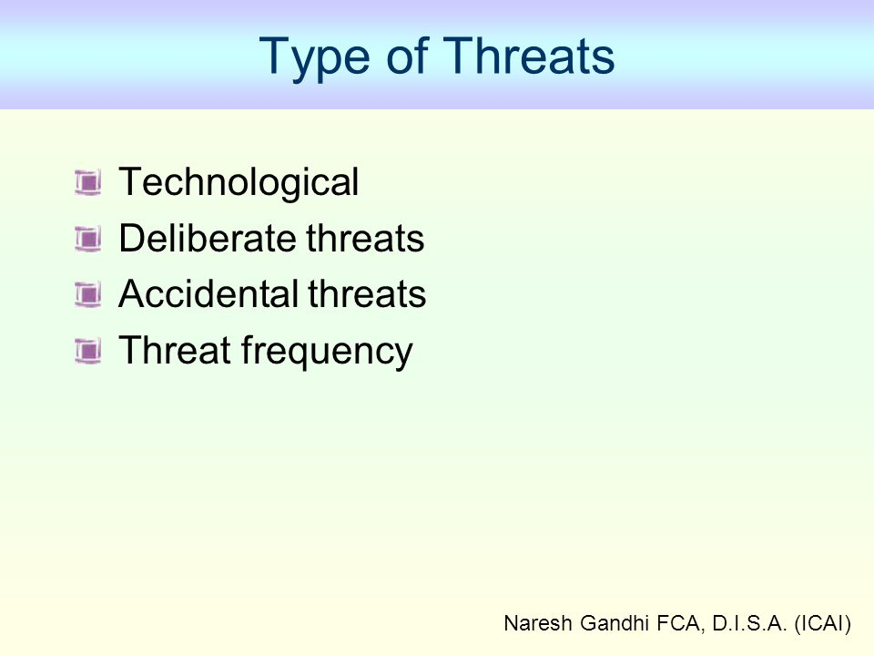 Naresh Gandhi FCA, D.I.S.A. (ICAI) Type of Threats Technological Deliberate threats Accidental threats Threat frequency