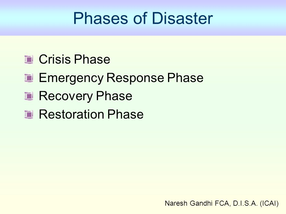 Naresh Gandhi FCA, D.I.S.A. (ICAI) Phases of Disaster Crisis Phase Emergency Response Phase Recovery Phase Restoration Phase