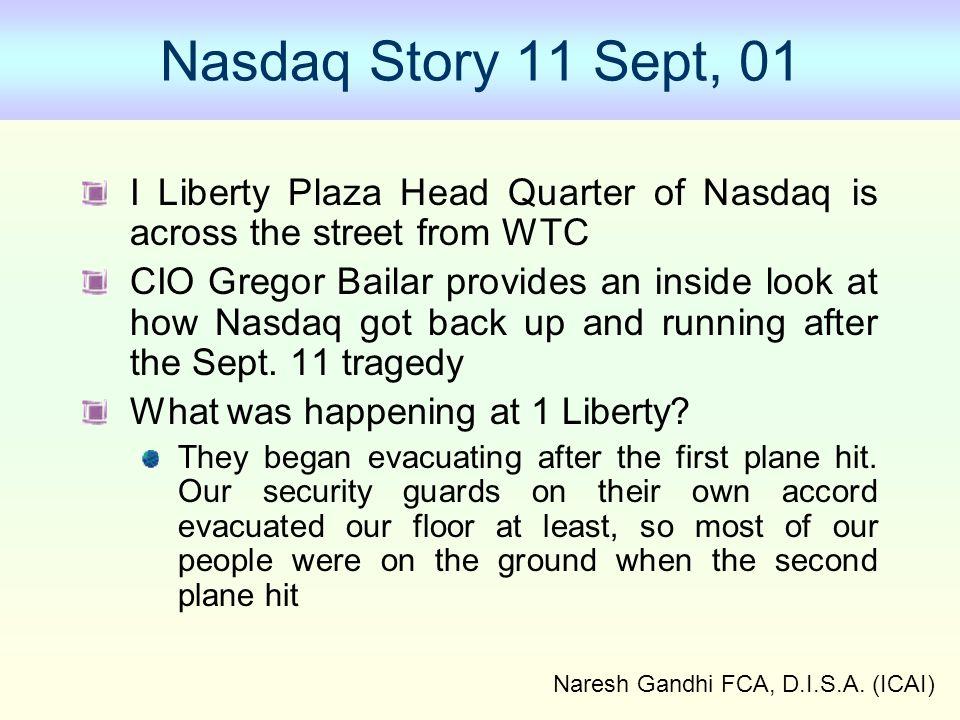 Naresh Gandhi FCA, D.I.S.A. (ICAI) Nasdaq Story 11 Sept, 01 I Liberty Plaza Head Quarter of Nasdaq is across the street from WTC CIO Gregor Bailar pro