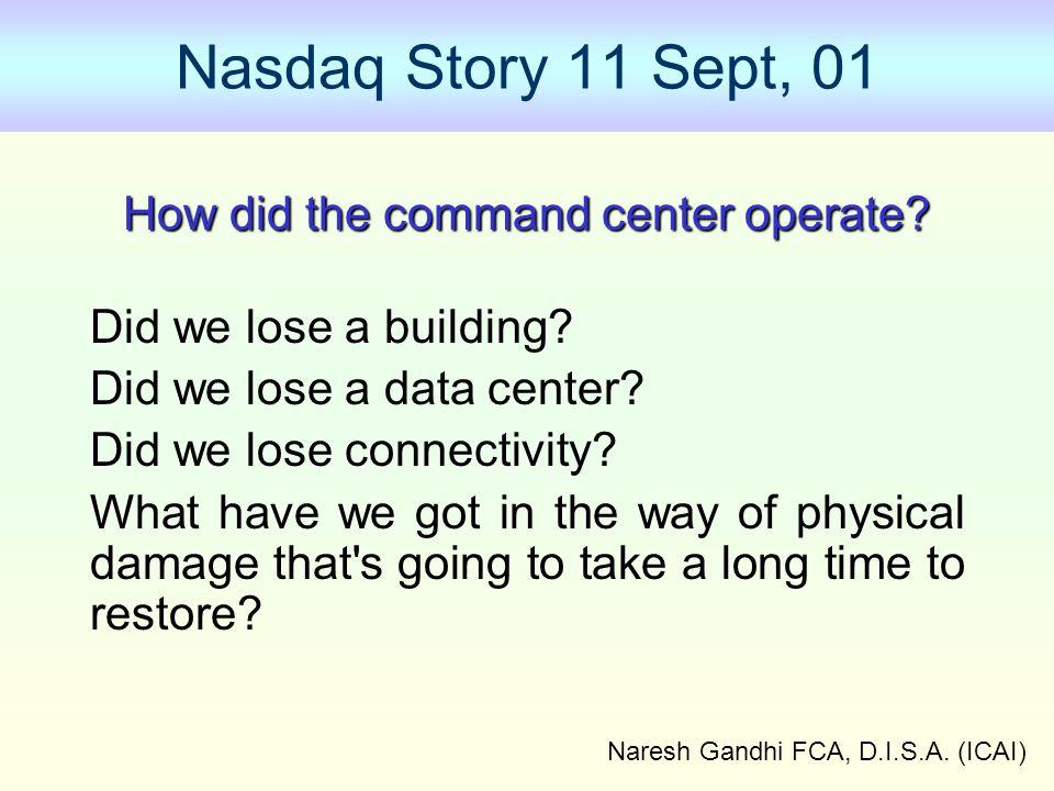 Naresh Gandhi FCA, D.I.S.A. (ICAI) Nasdaq Story 11 Sept, 01 How did the command center operate? Did we lose a building? Did we lose a data center? Did